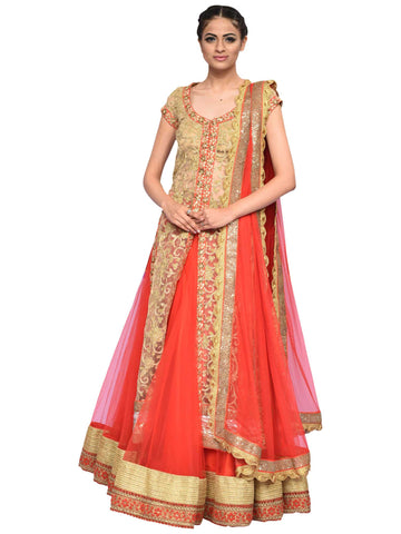 Red And Beige Sharara By Archana Nallam