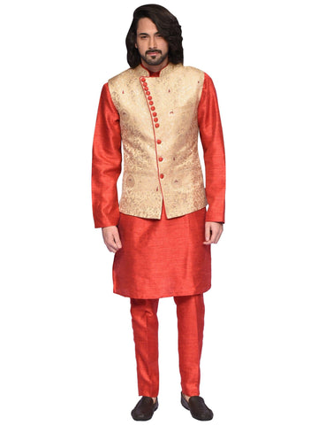 Red And Golden Designer Indo-western Suit By Arun Dhall