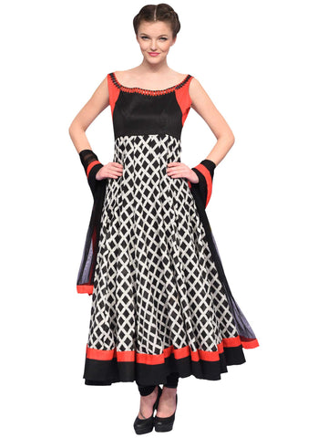 Black And White Anarkali By Archana Nallam