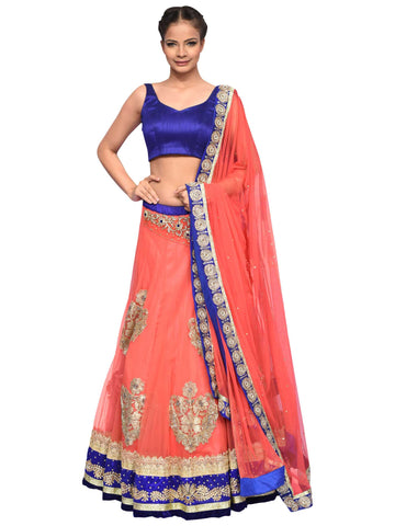 Blue And Peach Lehenga By Archana Nallam