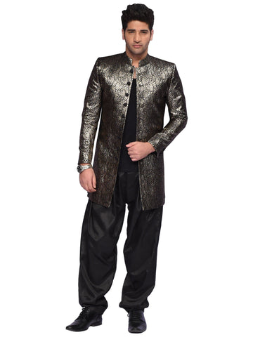 Black And Golden Designer Suit By Arun Dhall