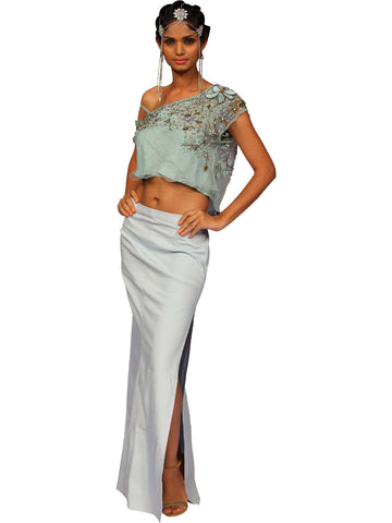 Crop Top With Long Pencil Skirt By Anjana Anamika