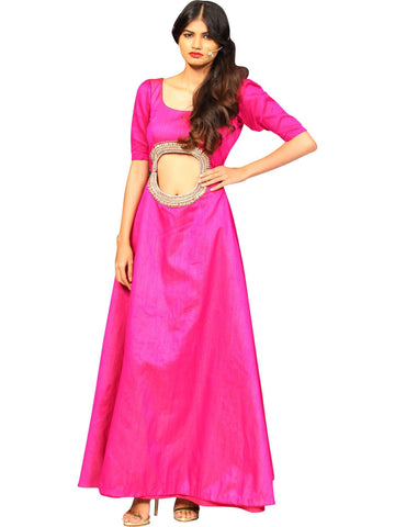 Hot Pink Gown With Diamond Embroidery By Anvita Thakkar