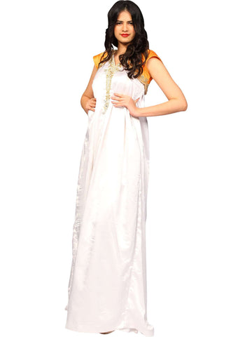 White Gown With Golden Short Shrug By Anvita Thakkar