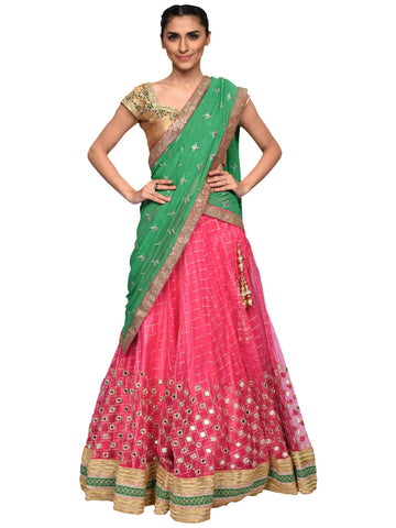 Pink And Green Lehenga By Archana Nallam
