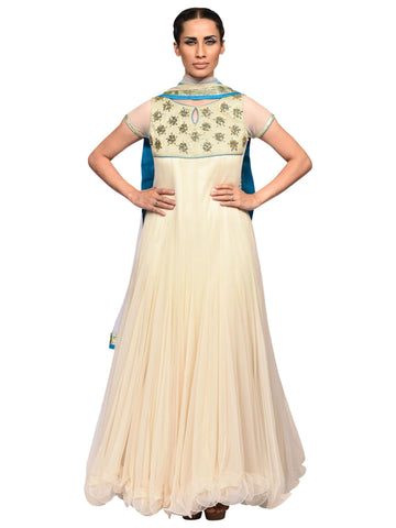 Cream Anarkali By Archana Nallam