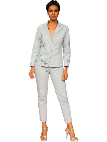 Pale Blue Jacket With Pant By Anjana Anamika