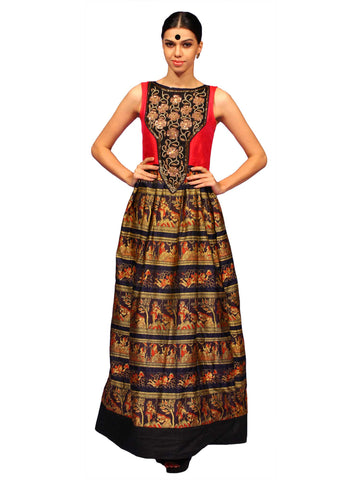 Long Pleated Baluchori Dress by Chandri Mukherjee