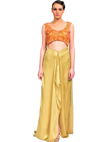 Asymmetrical Crop Gown By Devika Kalia