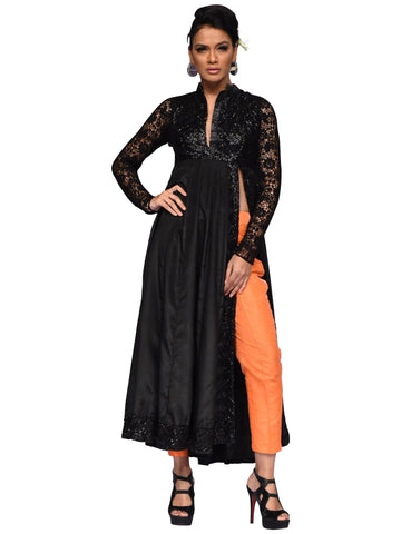 Side Cut Long Dress With Cigarette Pants By Arun Dhall