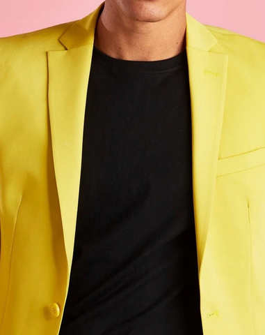 Yellow Single Breasted Slim Fit Blazer Suit