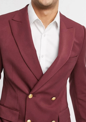 Burgundy Black Double Breasted Slim Fit Blazer Suit