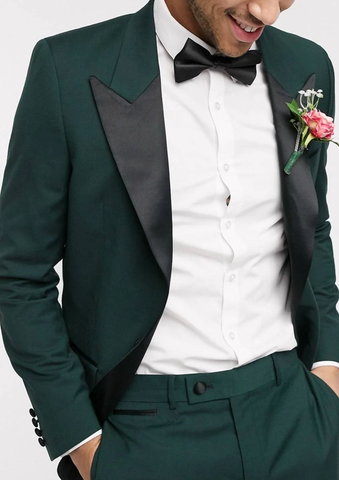 Green Contrast Lapel Slim Fit Tuxedo Suit