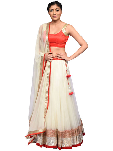 Red And Cream Lehenga By Archana Nallam