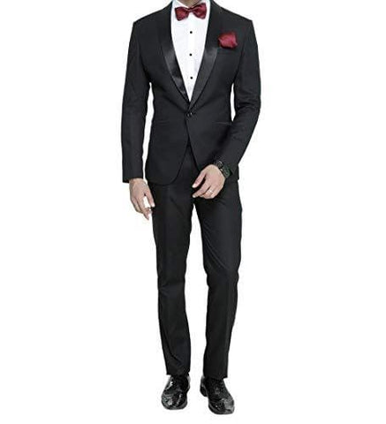 Shawl Collar One Button Slim Fit Tuxedo Suit