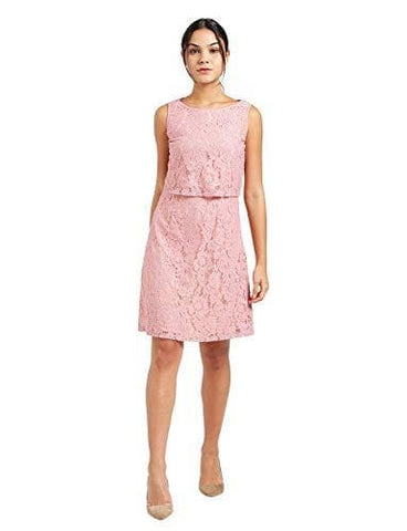 Pink Round Neck Sleeveless A-Line Dress