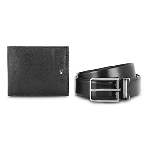 Black Men's Belt and Wallet Combo