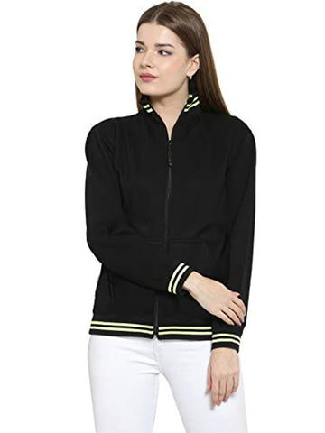 Black Cotton High Neck Sweatshirt Pullover with Zip