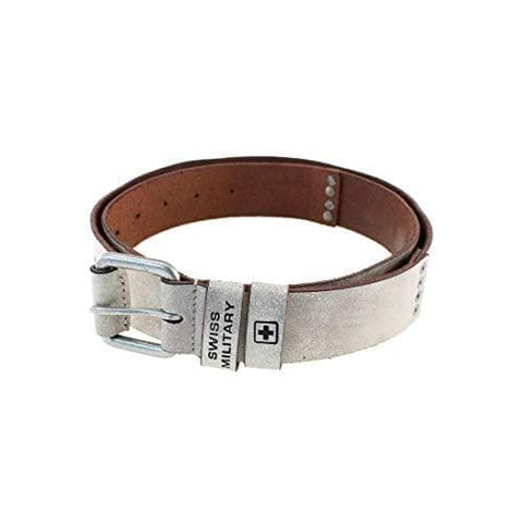 White 100% Genuine Leather Belt with Concealed Money Pocket