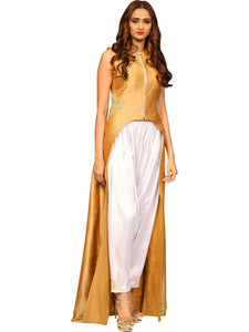 Gold High Low Kurta With Heram Pants By Anvita Thakkar