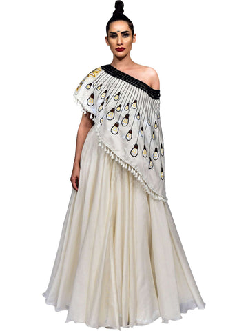 Ivory Cape With Skirt by Amita Gupta