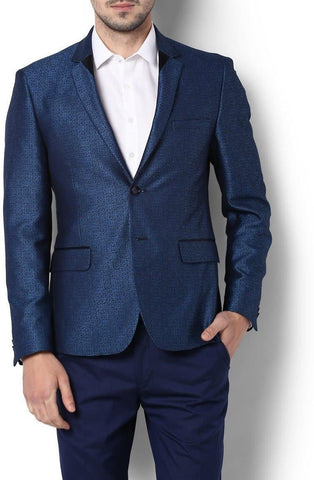 Blue Self Design Single Breasted Party Blazer