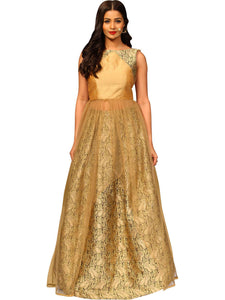Brocade Skirt With Raw Silk & Net Top By Anvita Thakkar