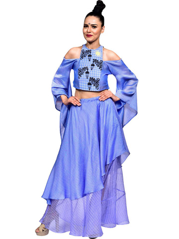 Embroidered Blue Crop Top With Multi Layer Lahenga Skirt by Amita Gupta - Wear.Style