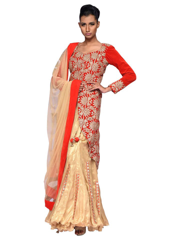 Fawn And Red Lehenga With Coat by Arshi Jamal