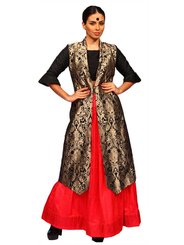 Black Gold Brocade Long Jacket With Red Pleated Skirt by Chandri Mukherjee