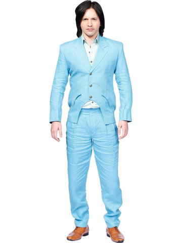 Casual Blue Linen Suit By Anjana Anamika