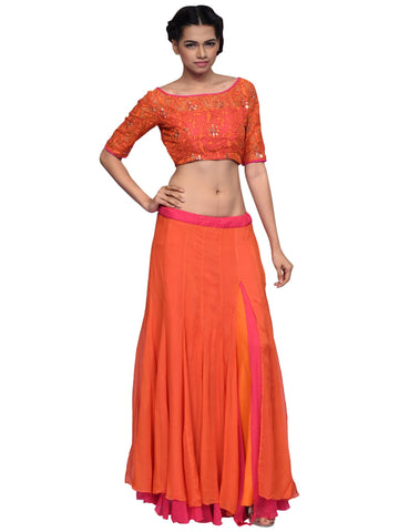 Orange Skirt And Crop Top By Archana Nallam