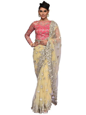 Golden And Pastel Pink Embroidered Saree By Arun Dhall