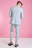 Grey Supper Skinny Single Breasted Blazer Suit