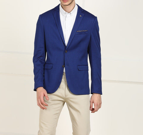 Blue Single Breasted Polyester Blazer