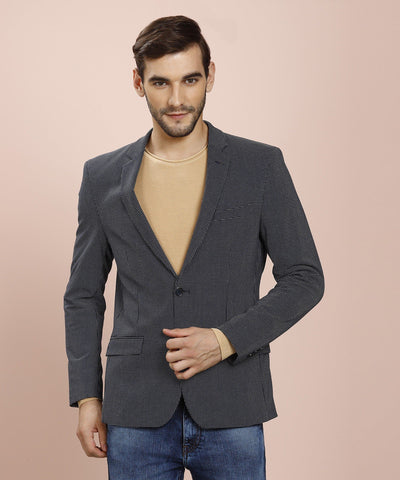 Self Design Full Sleeve Single Breasted Blue Blazer