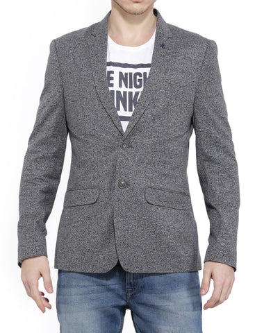 Grey Single Breasted Cotton Blazer
