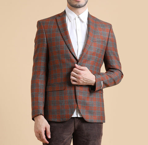 Checkered Single Breasted Blazer
