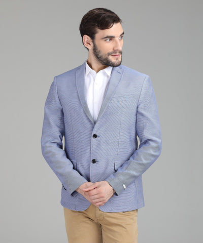 Blue Cotton Self Design Single Breasted Party Blazer