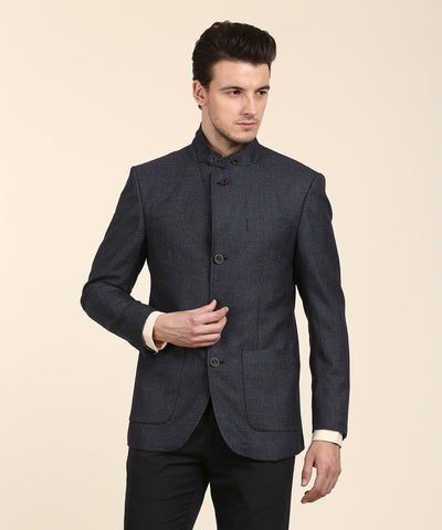 Blue Self Design Bandhgala Party Blazer