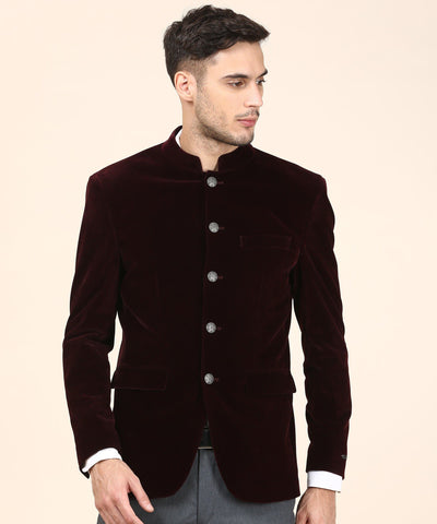 Maroon Single Breasted Terylene Blazer