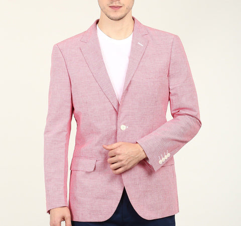 Pink Self Design Single Breasted Cotton Blazer
