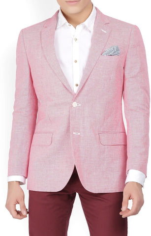 Pink Cotton Self Design Single Breasted Blazer
