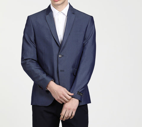 Blue Single Breasted Party Blazer