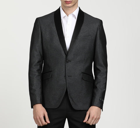 Self Design Single Breasted Grey Party Blazer