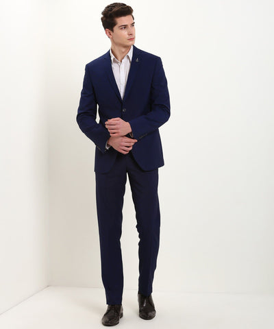 Slim Fit Self Design 2 Piece Suit