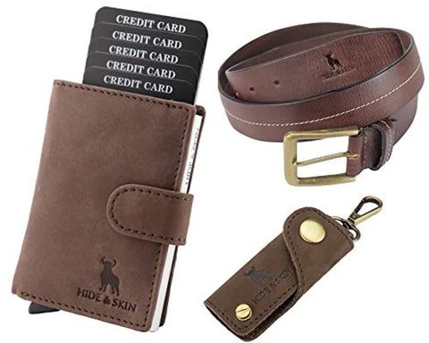 Leather Men's Card Holder, Belt and Keychain Combo Box