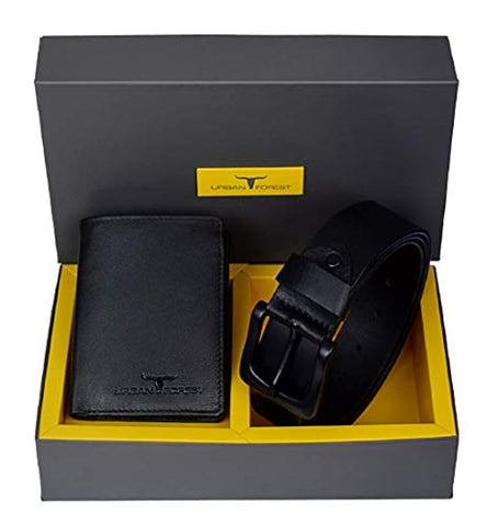 Black Leather Wallet and Belt Combo Gift Set for Men