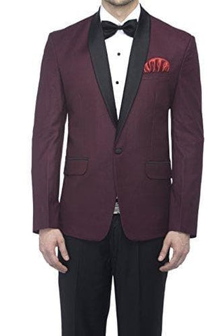 Polyester and Viscose Wine Slim Fit Blazers