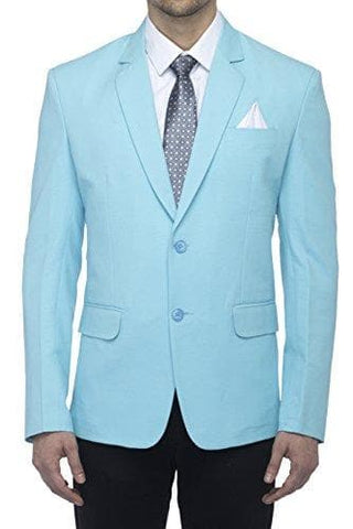 Cotton Blend Sky Blue Slim Fit Blazer